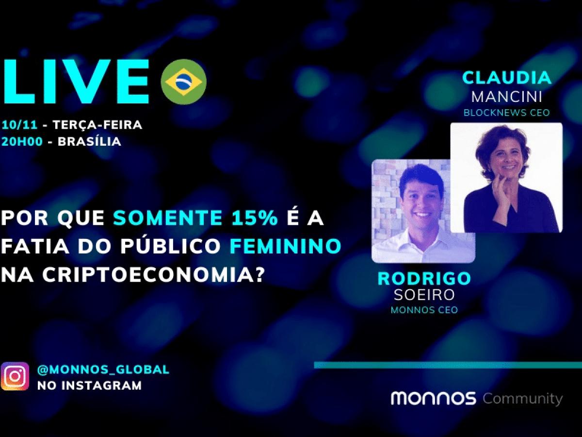 Live da Monnos com Blocknews discutirá baixa participação de mulheres na criptoeconomia